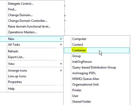 How To Add Container Option To Active Directory